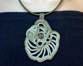 Handmade Crochet Necklace in Shades of Mummy's Tomb Greens