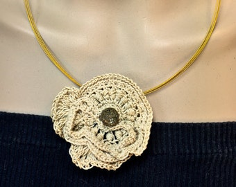 Handmade Crochet Necklace with Antique Button