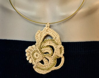 Handmade Crochet Necklace  in Apricot