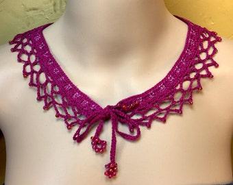 Fuchsia Beaded Collar