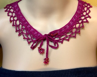 Fuchsia Beaded Collar