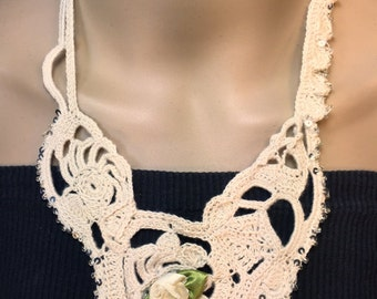 Free-form Crochet Brides  Necklace