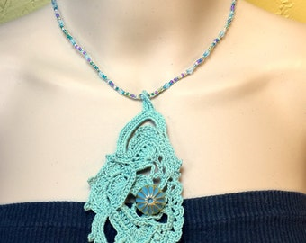 Beads and Button Crochet Necklace