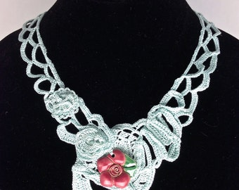 Rose on Ice Blue, hand crocheted Statement Necklace