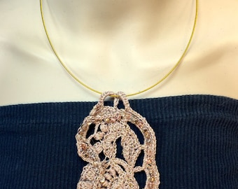 Gold in the Desert Sand Free-form Crochet Necklace
