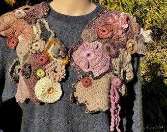 Freeform knitting and Crochet Capelet/Cowl