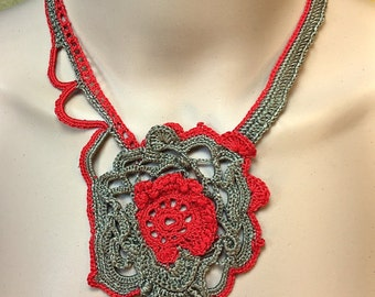 Free-Form Crochet Necklace in Red and Taupe