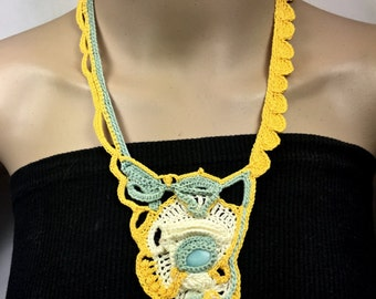 Free-form Crochet Statement Necklace in Aqua, Yellow, and Cream with Vintage Button