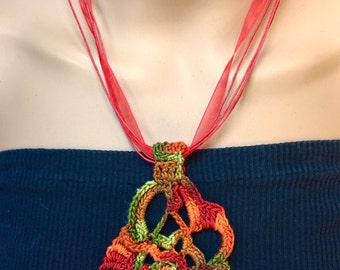 Handmade Free-Form Crochet Pendent  Necklace