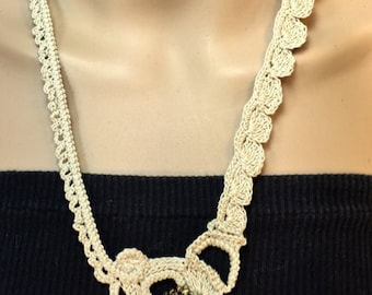Free-Form Crochet Ecru Necklace with Jeweled Feature