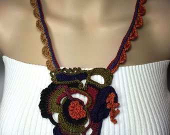 Free-Form Crochet Necklace in Dark and Dramatic Colors