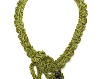 Handmade Pea Pod Green Necklace