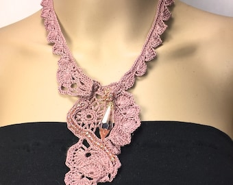 Free-Form Crochet  Statement Necklace with Crystal and glass beads