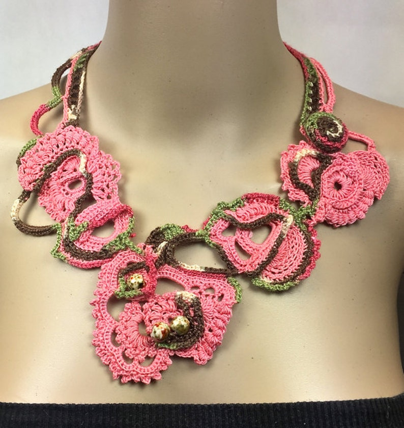 Free-Form Crochet Statement Necklace with Porcelain Beads