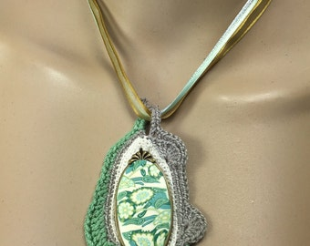 Free-form Crochet Necklace with Porcelain Oval Tile