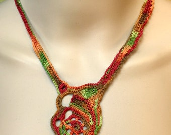 Free-form Crochet Necklace in Rich Warm Colors