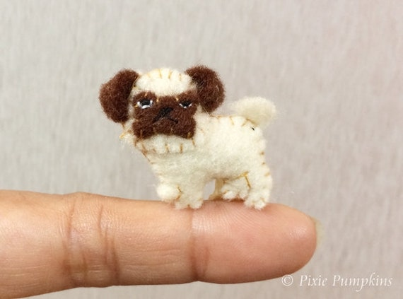 Tiny Pug Dog Plush Toy Miniature Felt Pug Pug Miniature Etsy