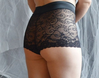 Black lace High waist panties , Lace shorts , Floral knickers , Lace french knickers , Elegant lingerie , Plus size panties