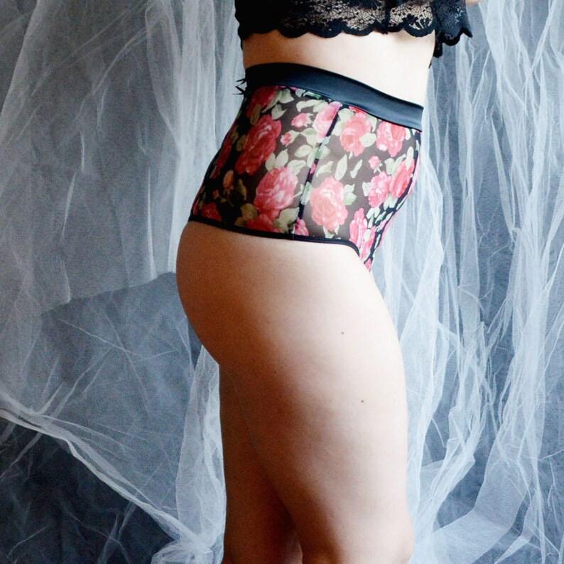 4402707f42a High waist flower mesh thong Plus size mesh thong Flower thong
