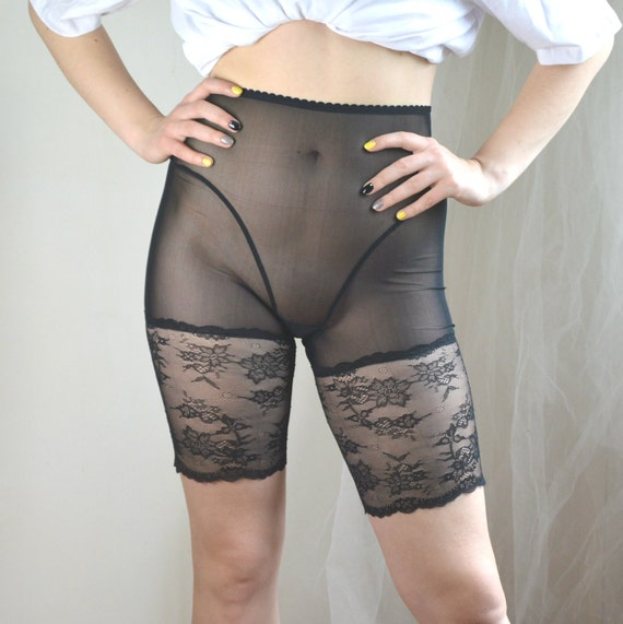 best quality top-rated discount authentic quality Sheer black or nude mesh bike shorts High waist lace long panties See  through plus size lingerie Transparent strainer boy short Knee length