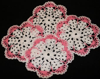 New Hand Crocheted Doily set of 4 french rose and white