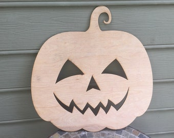 5mm Thick Plywood Unfinished Small Happy Face Pumpkin Wood Cutout