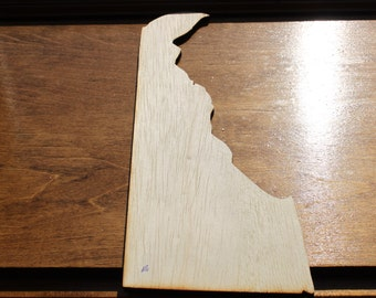Delaware DE Sign Wooden Cutouts - Shapes for Projects or Other Use