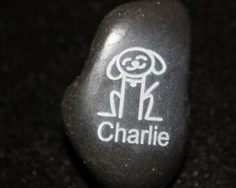 Personalized Stick Figure Happy Dog Engraved Stone
