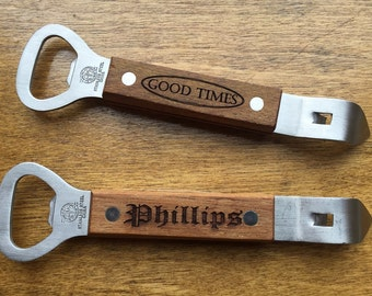 Can Opener - Personalized With Name Logo or Other Text - Bottle Opener On The Opposite End