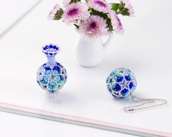1404 pink floral home decor Beaded Flower Ball Ornament bag charm gift ideas for women