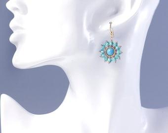 Beaded flower earrings turquoise, dangle earrings, turquoise gold earrings, christmas earrings, turquoise beaded earrings, mothers day, 375