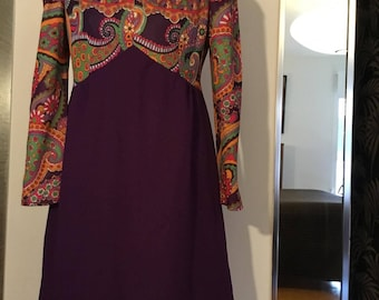 Vintage 1960's Purple Psychedelic Mod Abstract Op Art Print Baby Doll Mini Scooter Dress M