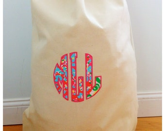 Canvas Laundry Bag with Drawstring - White Bag with subliamtion - toy bag - Custom per request
