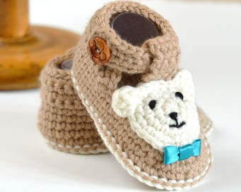 019350c80c8 CROCHET PATTERN Baby Booties Bear Booties for Boys AND Girls in 4 Sizes  0-3