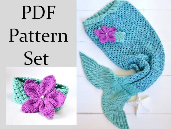 Knitting Pattern For Mermaid Tail Blanket For Children 6 Sizes Etsy