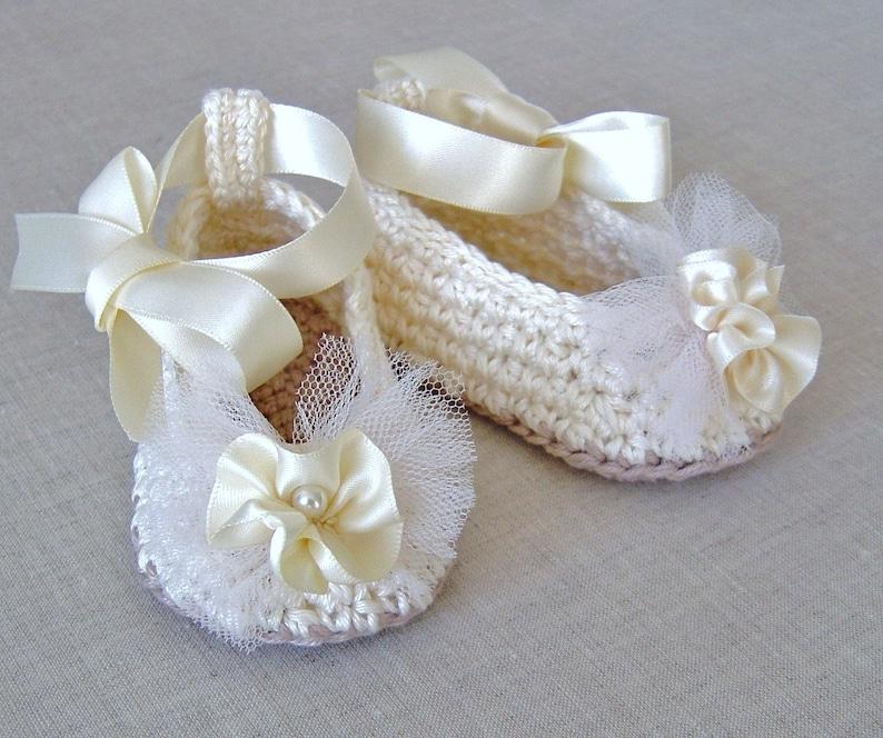 501019263d7a Crochet Pattern Baby Ballerina Slippers Baby Wedding Shoes