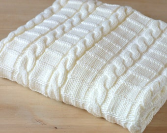 Easy Knitting pattern for baby blanket -Instructions for 3 Sizes - Easy Beginner Blanket with cables - PDF Digital File Instant Download