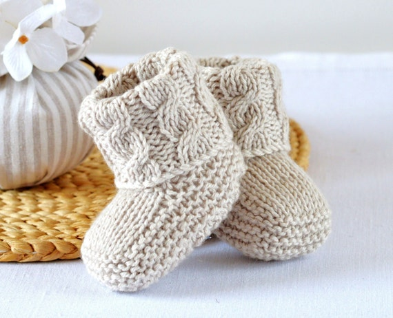 Baby Booties Knitting Pattern Cable Aran Baby Shoes Quick And Easy Photo Tutorial Digital File Instant Download