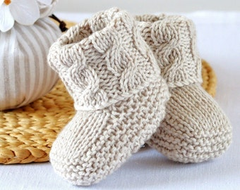 Booties Knitting Pattern - Baby Cable Booties- Knitting Photo Tutorial - PDF - Digital File