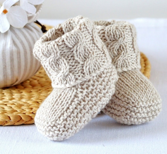 Baby Cable Booties Easy Knitting Pattern Shoes Easy Photo Etsy