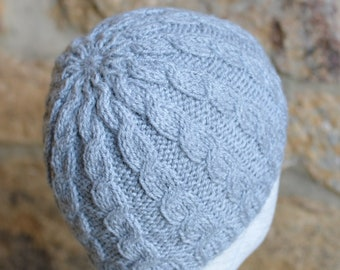 KNITTING PATTERN for Cable Beanie, 7 SIZES, Baby Hat Knitting Pattern, Easy Hat Pattern, Adult Beanie Hat, Instant Download, pdf