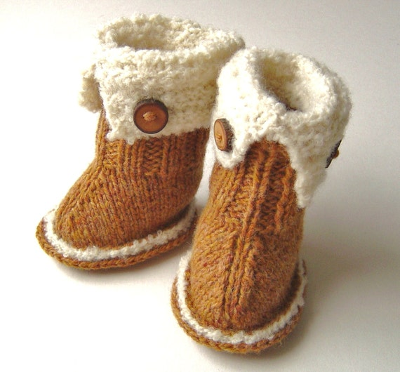 Knitting Pattern Baby Booties Ugg Style Booties Pattern Easy Etsy