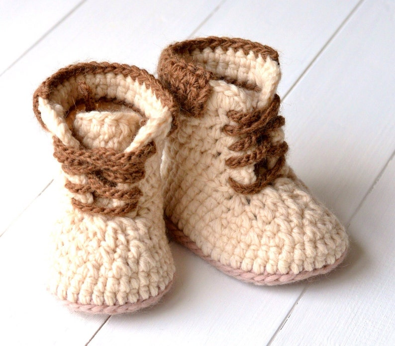 634f4a5e852ec Crochet Pattern Baby Timberland Style Booties Baby Workman Booties pattern  Crochet Tutorial PDF file Instant Download