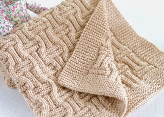 Knitting Pattern Baby Blanket Reversible Basketweave Blanket Etsy