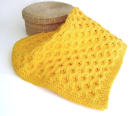 Knitting Pattern Baby Blanket Honeycomb Aran Baby Blanket Etsy