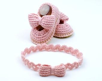 Baby Shoes Crochet Pattern / Baby headband Crochet Pattern / 3 Sizes / Easy Booties Crochet Pattern PDF