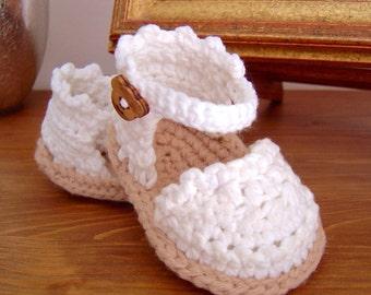 CROCHET PATTERN Baby Espadrilles, Baby Sandals Pattern, Easy Booties Crochet Pattern, PDF file, instant download