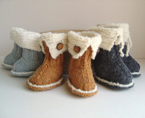 Knitting Pattern Baby Booties Ugg Style Booties Tutorial Quick Etsy