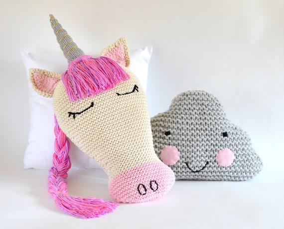 Knitting Pattern Unicorn Pillow Sleepy Unicorn And Cloud Etsy