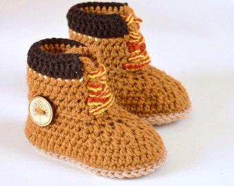 Baby Timberland Boots CROCHET PATTERN - Construction Boots for baby - Pattern, 3 Sizes - Baby Boy  Crochet Pattern - Digital File
